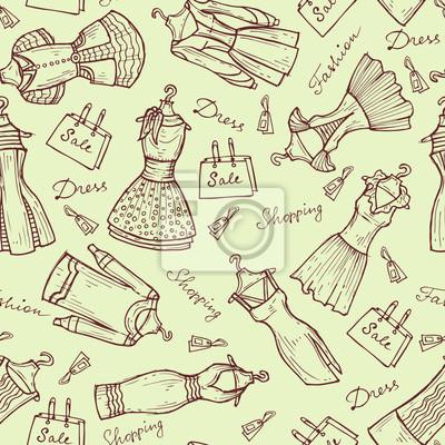395f3c8b7 Fotomural Teste padrão do vetor com os vestidos das mulheres no fundo claro