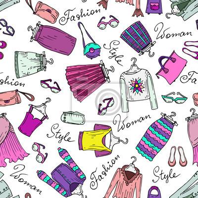 b563ba3cb Teste padrão do vetor com roupas femininas da moda fotomural ...