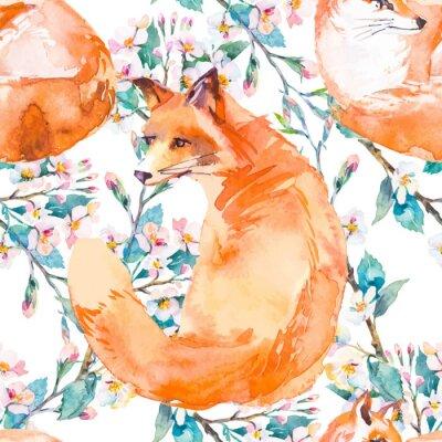 Fotomural Teste padrão dos animais selvagens. Fox e ramos de florescência. Vetor.