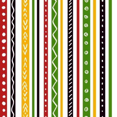 Fotomural Teste padrão étnico sem emenda com listras verdes, amarelas, da cor vermelha. Repita o fundo da textura das listras retas, vetor.
