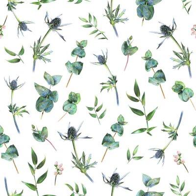 Fotomural Teste padrão floral sem emenda com eucalipto, feverweeds e as folhas verdes do ruscus no branco. Plantas de primavera. Fundo natural botânico desenhado à mão com lápis colorido