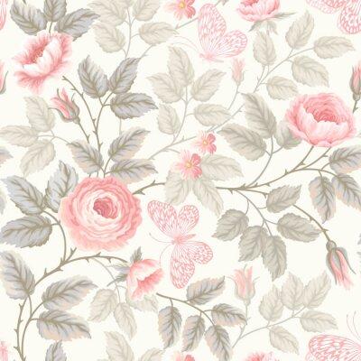 Fotomural Teste padrão floral sem emenda com rosas e borboletas