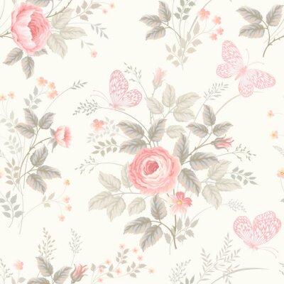 Fotomural Teste padrão floral sem emenda com rosas em cores pastel