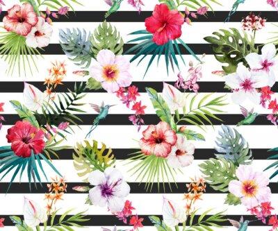 Fotomural Teste padrão floral tropical da aguarela