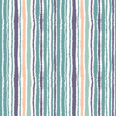 Fotomural Teste padrão listrado sem emenda. Linhas estreitas verticais. Papel rasgado, textura da borda do fragmento. Azul, branco, cor de laranja macia. Vetor