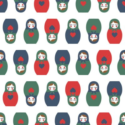 Fotomural Teste padrão sem emenda colorido da boneca aninhada. Boneca de madeira bonito russo - Matrioshka. Boneca aninhada Matrioshka ilustração isolado no fundo branco.