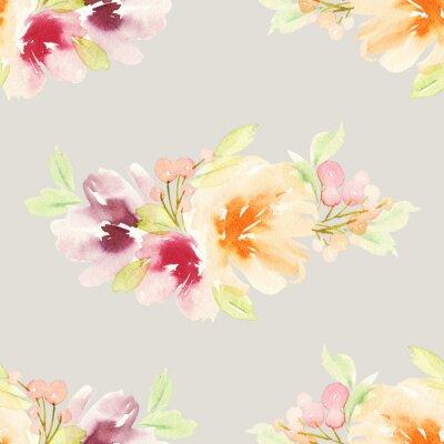 Fotomural Teste padrão sem emenda com aguarela das flores. Cores delicadas.