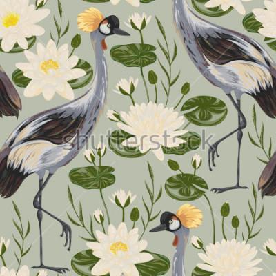 Fotomural Teste padrão sem emenda com pássaro do guindaste e lírio de água. Motivo Oriental. Ilustração em vetor vintage mão desenhada em estilo aquarela