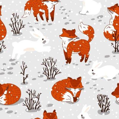 Fotomural Teste padrão sem emenda com raposas bonitos e coelho. Ilustração do inverno