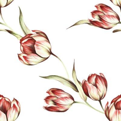 Fotomural Teste padrão sem emenda com tulips. Mão, desenhar, aguarela, ilustração