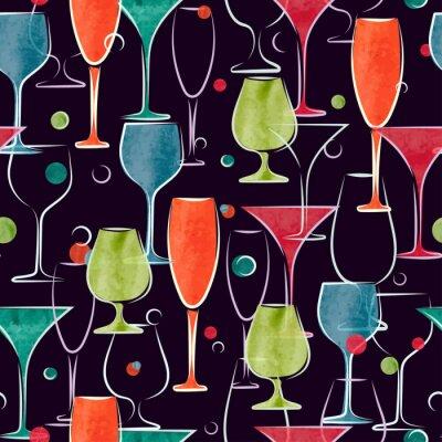 Fotomural Teste padrão sem emenda com vidros coloridos do cocktail da aguarela. Fundo do vetor.