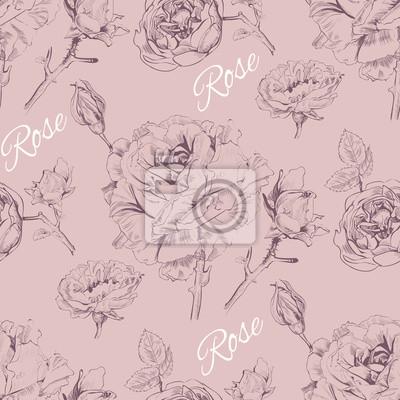 Fotomural Teste padrão sem emenda cor-de-rosa do gráfico do vintage. Design do fundo para cosméticos cor-de-rosa, loja da flor, salão de beleza, produtos naturais e orgânicos. Vector a ilustração