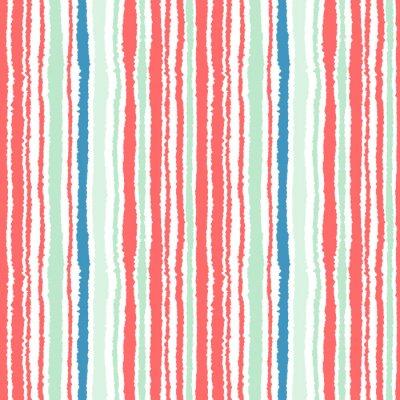 Fotomural Teste padrão sem emenda da tira. Linhas verticais com efeito de papel rasgado. Fundo da borda do fragmento. Cores frias, macias, verdes, azuis, vermelhas, brancas. Tema do inverno. Vetor
