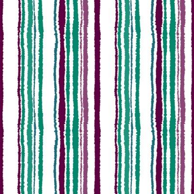 Fotomural Teste padrão sem emenda da tira. Linhas verticais com efeito de papel rasgado. Fundo da borda do fragmento. Frio, contraste, turquesa, verde, vinoso, roxo, cores brancas. Tema do inverno. Vetor