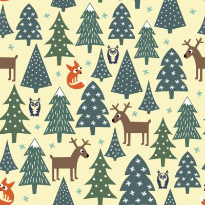 Fotomural Teste padrão sem emenda do Natal - árvores variadas do Xmas, casas, raposas, corujas e deers. Fundo do ano novo feliz. Vector o projeto para feriados de inverno.