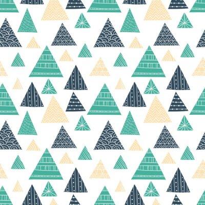 Fotomural Teste padrão sem emenda do triângulo do Doodle