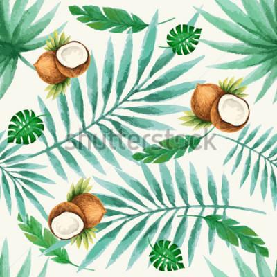 Fotomural Teste padrão sem emenda dos frutos exóticos, aquarela, ilustração do vetor.