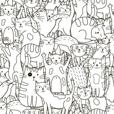 Fotomural Teste padrão sem emenda dos gatos do Doodle. Fundo preto e branco bonito dos gatos