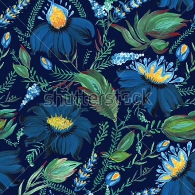 Fotomural Teste padrão sem emenda floral abstrato no estilo popular ucraniano Petrykivka da pintura. Mão desenhada fantasia flores, folhas, galhos sobre um fundo azul escuro índigo.Batik, preenchimento de págin