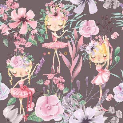 Fotomural Teste padrão sem emenda floral bonito da aguarela com meninas bonitas do ballet, bailarinas. Rosas abstratas, peônia, lilás e ramos em fundo escuro