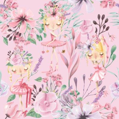 Fotomural Teste padrão sem emenda floral bonito da aguarela com meninas bonitas do ballet, bailarinas. Rosas abstratas, peônia, lilás e ramos em fundo rosa
