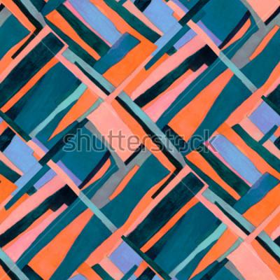 Fotomural Teste padrão sem emenda geométrico com listras multicoloridas e cercas do rombo. Fundo abstrato contemporâneo na moda.