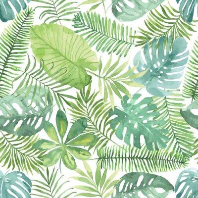 Fotomural Teste padrão sem emenda tropical com folhas. Fundo da aguarela com folhas tropicais.