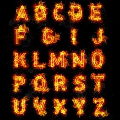 Fotomural Texto Fire font todas as letras do alfabeto no fundo preto