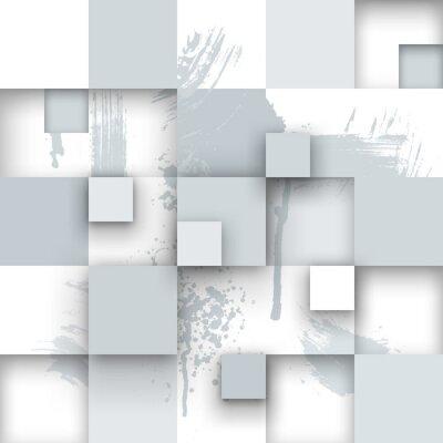 Fotomural Textura abstrata com quadrados e respingos de tinta.