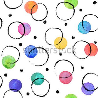 Fotomural Textura aquarela. Manchas de Aquarelle com mão de tinta desenhada com tinta seca. Padrão sem fim Aquarela padrão com pontos pretos e negros círculos sem fundo branco.