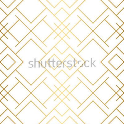 Fotomural Textura dourada. Sem costura padrão geométrico. Fundo dourado. Padrão sem alteração de vetor. Fundo geométrico com losango e nós. Padrão geométrico abstrato.