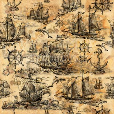 Fotomural Textura sem emenda do vintage, papel de parede em um tema marinho, desenhados à mão com veleiros antigos, tubarões, volantes, salvando círculos e papel velho.