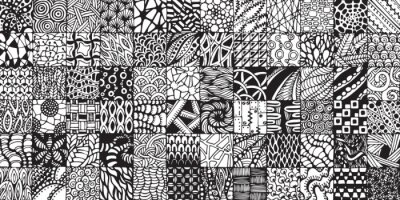 Fotomural texture with black and white squares painted in the style of zentangl