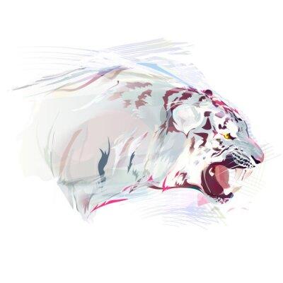 Fotomural Tigre branco, ilustração da aguarela