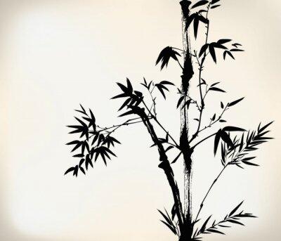 Fotomural tinta bambu pintado
