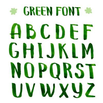 Fotomural Tinta Handmade alfabeto verde.