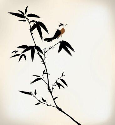 Fotomural tinta pintada bambu e pássaro