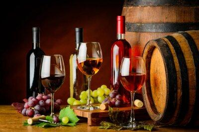 Fotomural Tipos de vinho em garrafas e copos