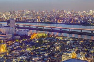 Fotomural Tokyo, cidade, vista, Tóquio, torre, crepúsculo