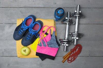 Fotomural Topo, vista, colorido, aptidão, equipamento, madeira, chão