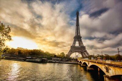 Fotomural Torre Eiffel com barco no Sena, em Paris, França