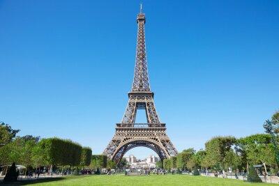 Fotomural Torre Eiffel, dia de verão ensolarado com céu azul e verde Campo de Marte