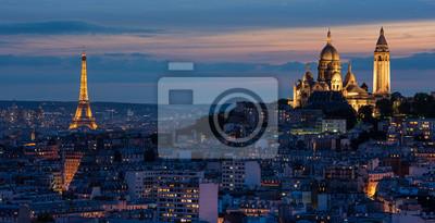 Fotomural Tour Eiffel et de Sacré Coeur au couché de soleil