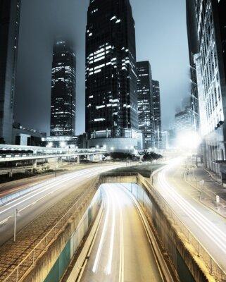 Fotomural tráfego em Hong Kong na noite