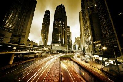 Fotomural tráfego em Hong Kong no momento do por do sol