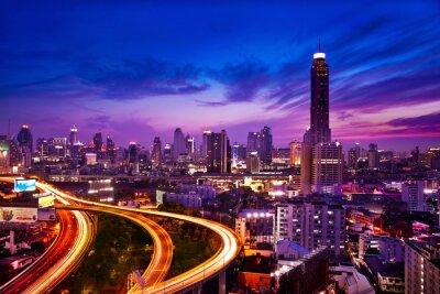 Fotomural Tráfego na cidade moderna à noite, Banguecoque, Tailândia