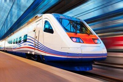 Fotomural Trem de alta velocidade moderno com borrão de movimento