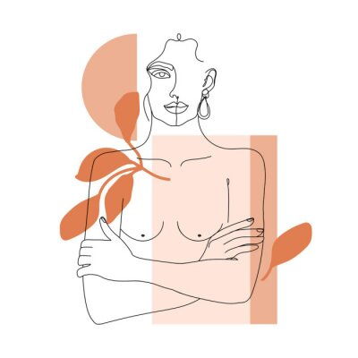 Fotomural Trendy one line woman body with abstract geometric shapes. Girl crossing arms on her chest. Elegant continuous line print for textile, poster, card, t-shirt etc. Vector fashion illustration.