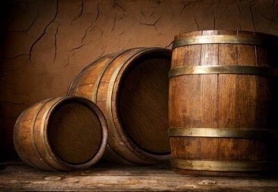 Fotomural Três barris de madeira