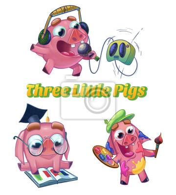 Três Porquinhos De Conto De Fadas Clássico Músico